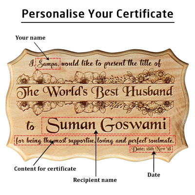 Personalized World's Best Husband Wooden Certificate