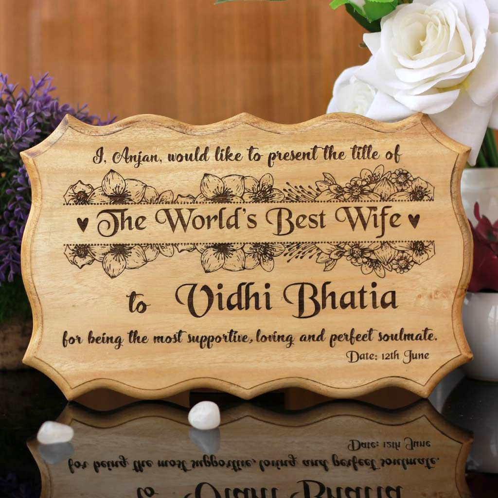 Personalized World's Best Wife Certificate - Greatest Wife Award Certificates - Unique Gifts for Wife - Anniversary Gifts for Wife  - Custom Wooden Certificates by Woodgeek Store