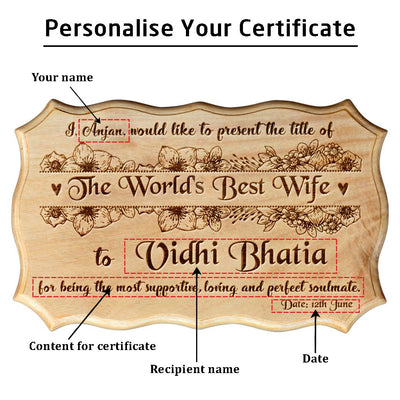 Personalized World's Best Wife Wooden Certificate