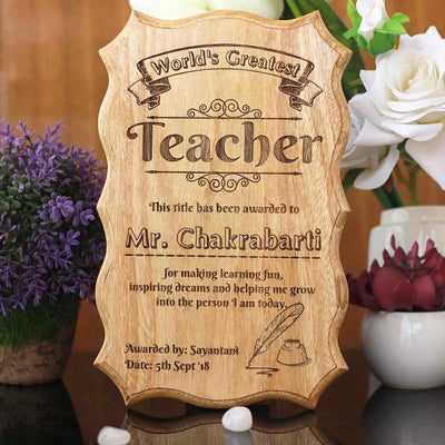 Personalized World's Greatest Teacher Certificate - Beat Teacher Award - Unique Gifts for Teachers on Teacher's Day - Custom Wooden Certificates by Woodgeek Store