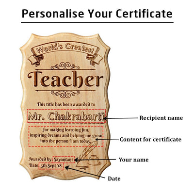 World's Greatest Teacher Certificate