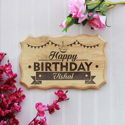 Happy Birthday Sign - Birthday Wood Sign for Wall - Wood Carved Signs - Home Decor Wooden Signs by Woodgeek Store