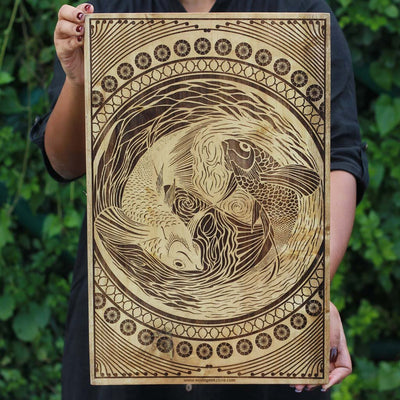 Pisces The Fish Carved Wooden Poster by Woodgeek Store - Zodiac Sign Wooden Artwork - Buy Wood Wall Art Decor Online