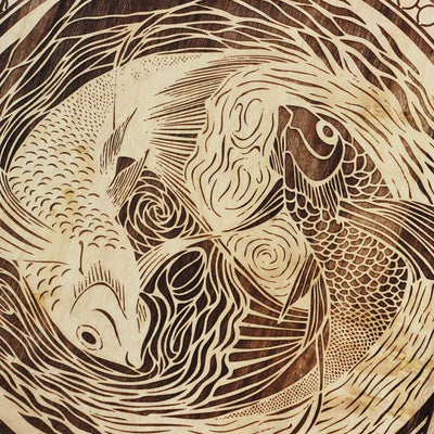 Wood Engraving - Pisces The Fish Carved Wooden Poster by Woodgeek Store - Zodiac Sign Wooden Artwork - Buy Wood Wall Art Decor Online