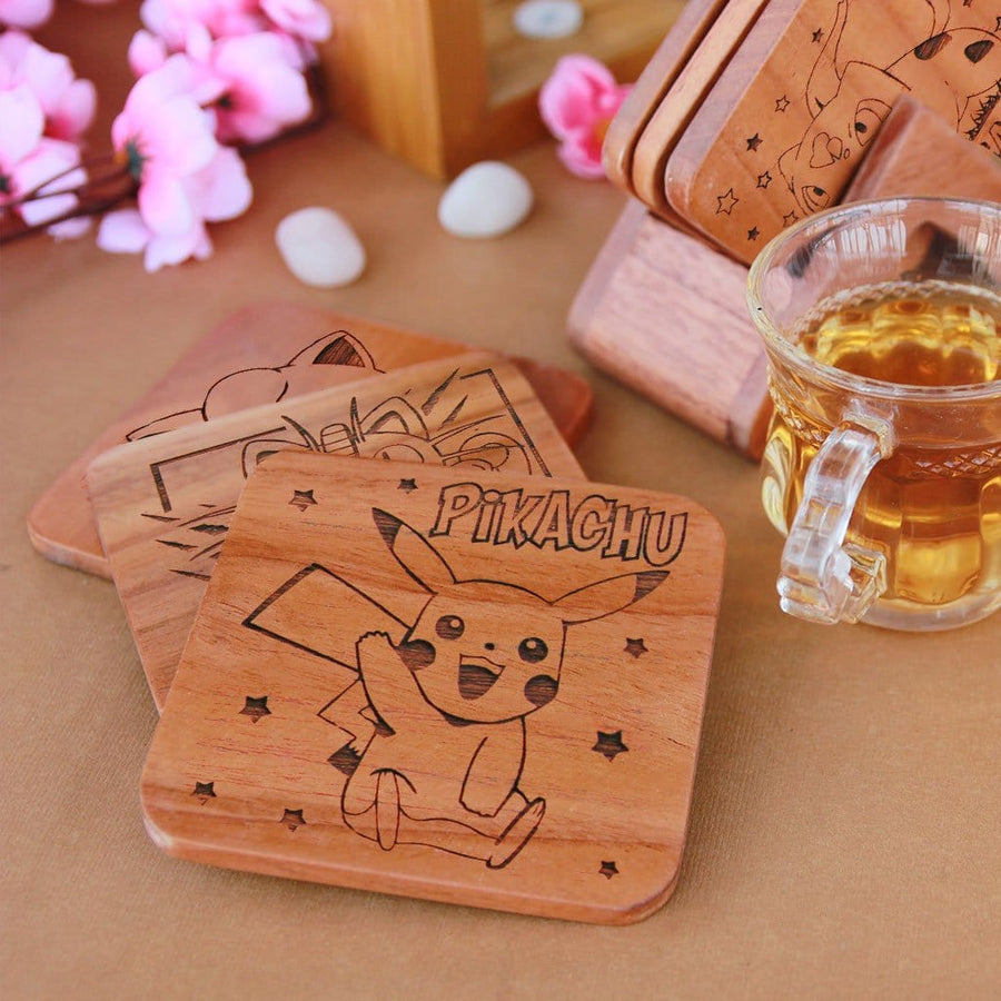 Pokemon Coasters. A Set Of Wooden Coasters Engraved With Bulbasaur, Squirtle, Meowth, Jigglypuff, Pikachu and Charmander Pokemons. Pokemon gifts for Pokemon fans. Shop Coasters Online at Woodgeek Store.