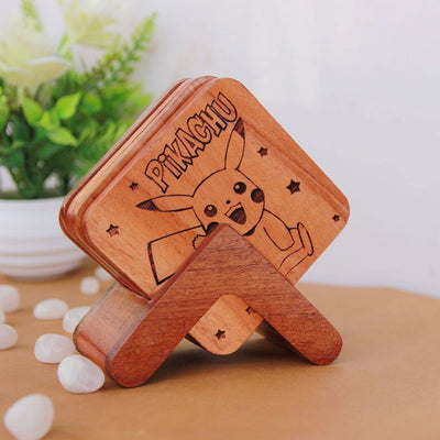 Pokemon Coasters - Wooden Coaster Set With Holder