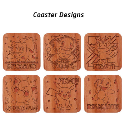 Pokemon Coasters. A Set Of Wooden Coasters Engraved With Bulbasaur, Squirtle, Meowth, Jigglypuff, Pikachu and Charmander Pokemons.