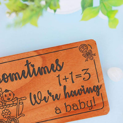 Pregnancy Announcement Cards & Pregnancy Congratulations Card: Set Of Personalized Wooden Cards. Baby Shower Invitation Cards.