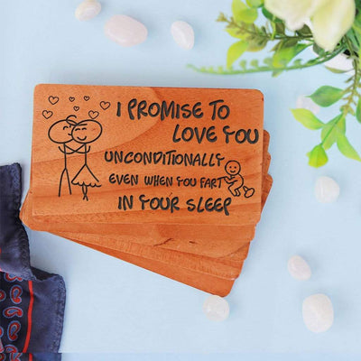 I Promise Cards & Love Cards: Set Of Personalized Wooden Cards. Promise Cards For Boyfriend. Promise Cards For Girlfriend.