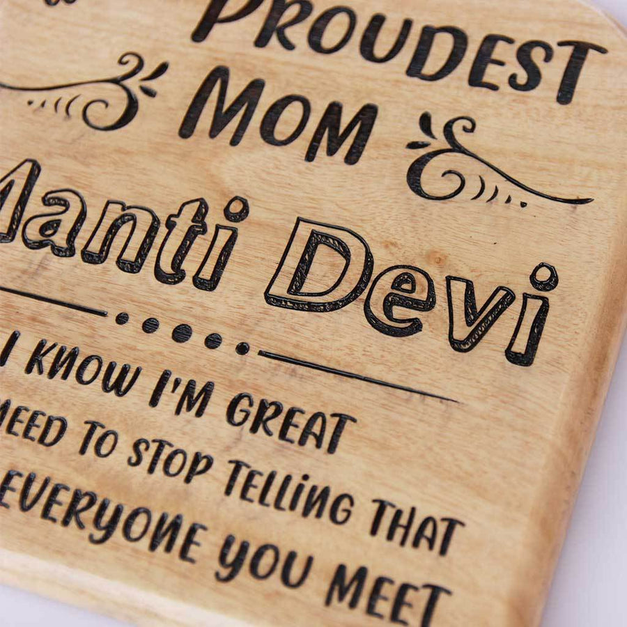 World's Proudest Mom Award Wooden Trophy. Looking for Unique Mother's Day Gift? This Customized Wooden Plaque will make a cool Gift For Mother.