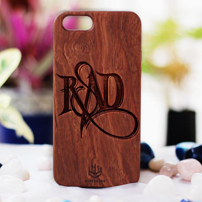 Stay Rad Wood Phone Case - Rosewood Phone Case - Engraved Phone Case - Fun Wood Phone Cases - Cool Wood Phone Covers - Woodgeek Store