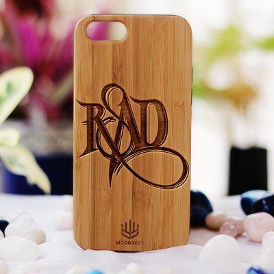 Stay Rad Wood Phone Case - Bamboo Phone Case - Engraved Phone Case - Fun Wood Phone Cases - Cool Wood Phone Covers - Woodgeek Store