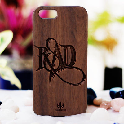 Stay Rad Wood Phone Case - Walnut Wood Phone Case - Engraved Phone Case - Fun Wood Phone Cases - Cool Wood Phone Covers - Woodgeek Store