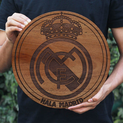 Real Madrid Club Logo Round Poster - Carved Wooden Poster - Gifts for Football Fans by Woodgeek Store