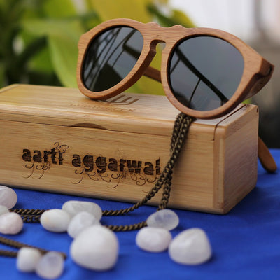 The Retro - brown bamboo wood round sunglasses