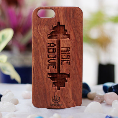 Rise Above Phone Case - Phone Cases for Fitness Lovers - Inspirational iPhone Case - Quote Phone Cases - Wood Cell Phone Case - Rosewood Phone Case by Woodgeek Store