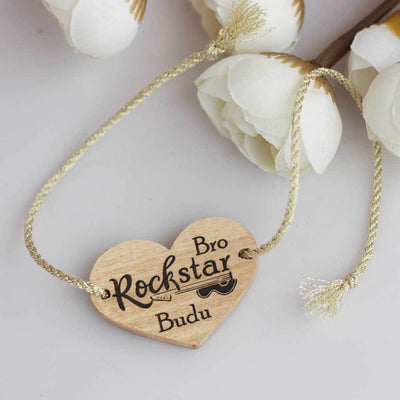 Rockstar Bro Personalised Rakhi and Raksha Bandhan Greeting Card - This Wooden Rakhi and Wooden Greeting Card Makes The Best Raksha bandhan Gift Ideas - Buy The Best Online Gifts For Raksha Bandhan From The Woodgeek Store.