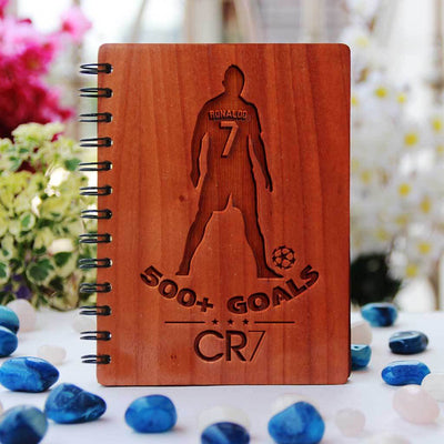 Personalized Wooden Notebook - Cristiano Ronaldo Engraved Sports Journal - Best Football Gifts