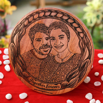 Customized Round Wooden Picture Frame - Wooden Plaque - Photo on Wood - Best Personalized Gifts - Create Your Own Wooden Poster With Photo - Woodgeek Store