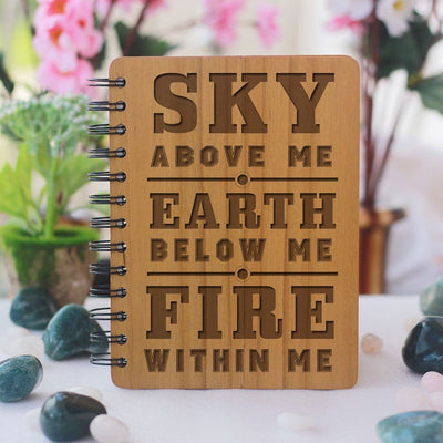 Sky, Earth, Fire - Personalized Wooden Notebook