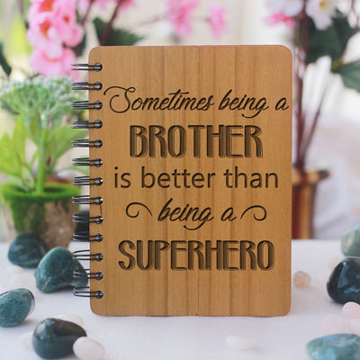 Unique brother gifts - Rakhi Gifts - Funbrother Gifts - best gift for brother - birthday gifts for brother - Notebook for brother - Personalized Notebook - Wooden Notebook - Woodgeek Store