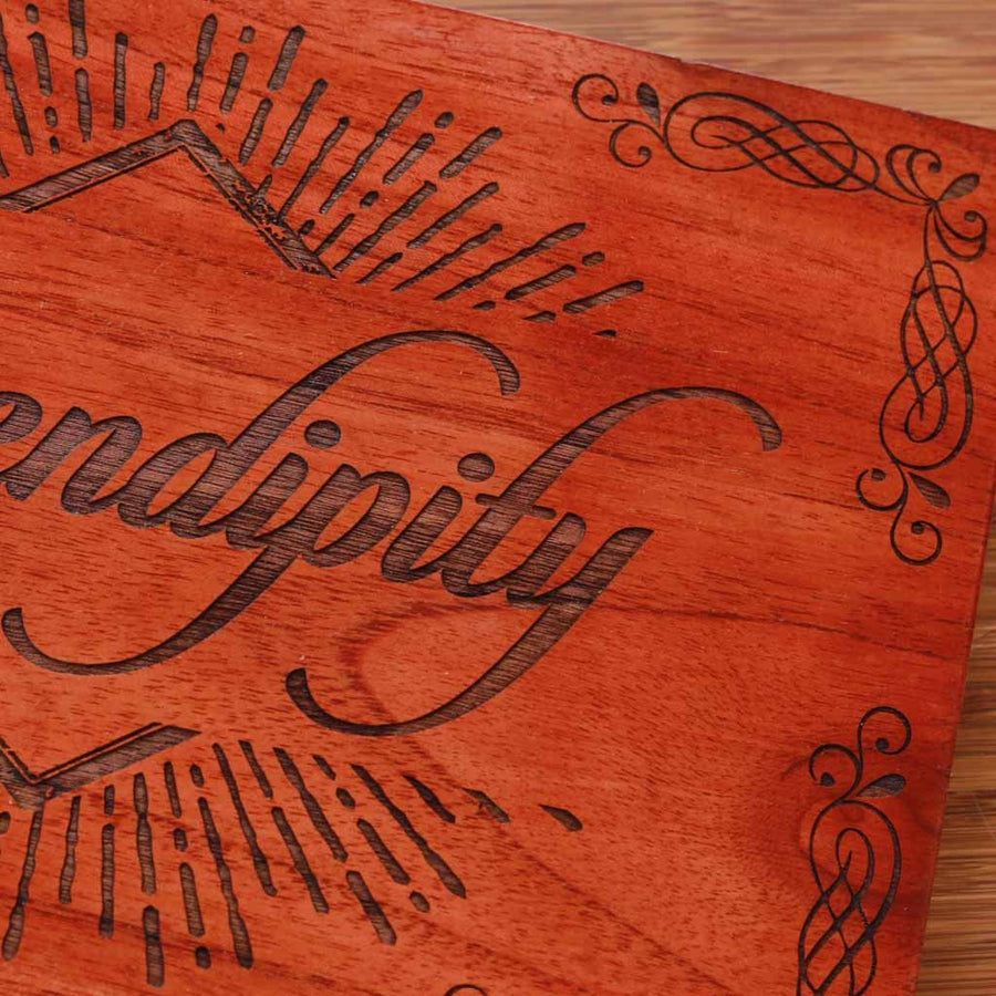 Serendipity Wood Word Sign | Wood Wall Poster | Carved Wood Wall Art | Woodgeek Store