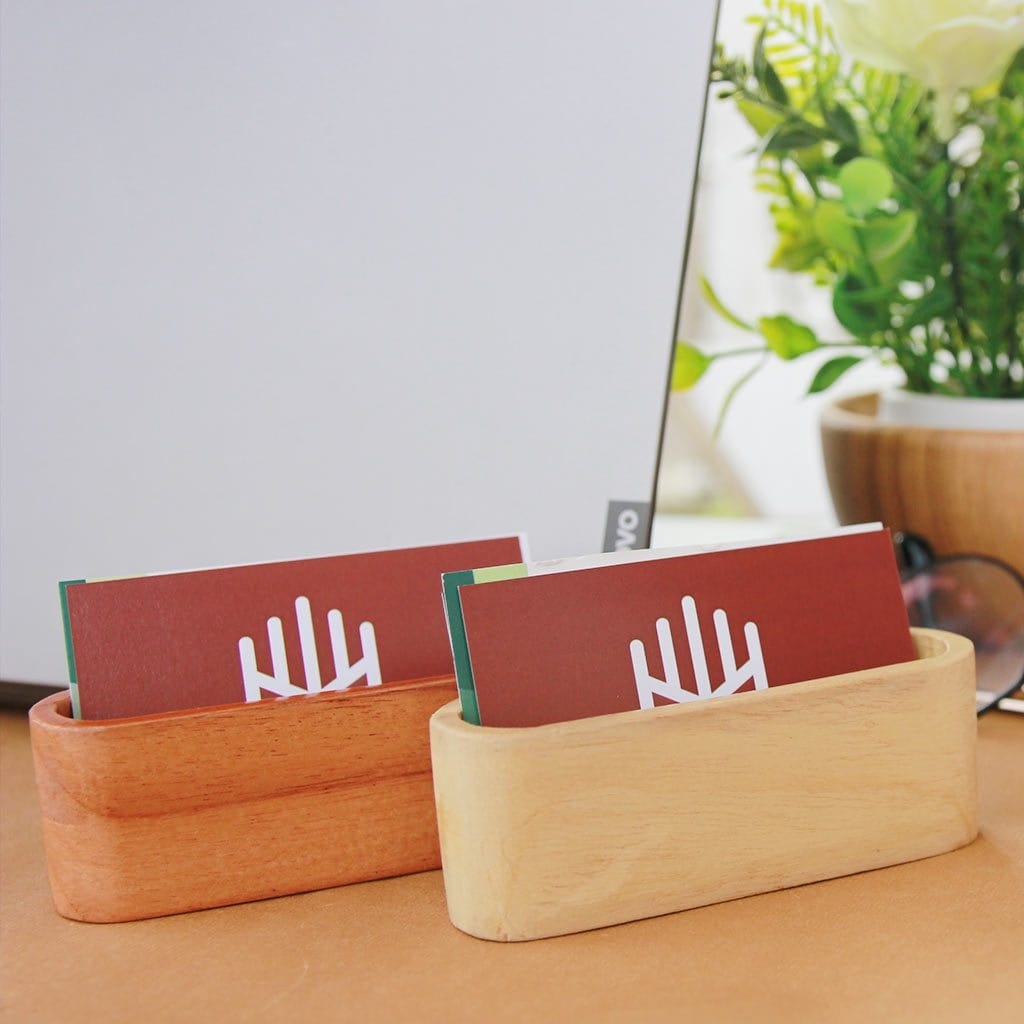 Set Of 2 Personalized Wooden Card Holders For Desk - This Unique Set Of Wooden Business Card Stand Makes Great Office Accessories - These Office Desk Decor Make Great Business Gifts For Colleagues And Employees.
