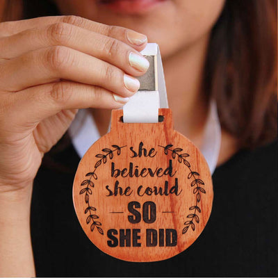 She Believed She Could, So She Did Wooden Medal - This Custom Medal Makes A Great Appreciation Award For Women - An Inspirational Gift for Women, This Is One Of The Best Gifts For Feminists.