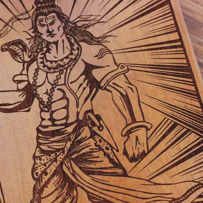 Wood Engraving - Shiva Carved Wooden Poster by Woodgeek Store - Hindu God Wooden Artwork - Indian God Destroyer of Evil Wood Wall Hanging - Buy Wood Wall Art Decor Online