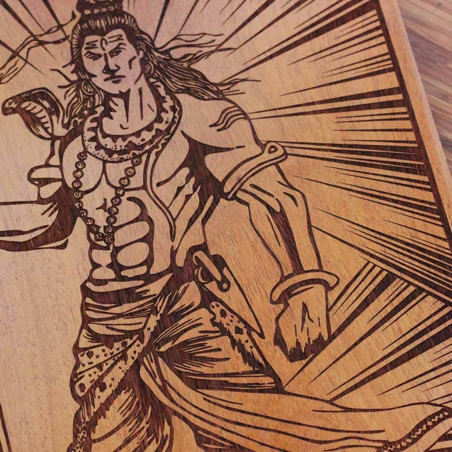 Shiva The Destroyer of Evil Carved Wooden Poster