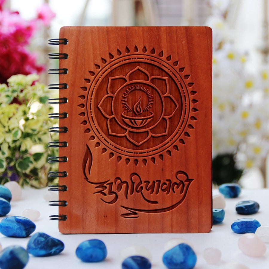 Shubh Deepavali Engraved in Hindi On Wooden Notebook. Diwali gifts for family, Diwali gifts for friends, corporate diwali gifts and diwali gifts for employees. Looking For Diwali gift ideas? This spiral notebook is the best Diwali gift.