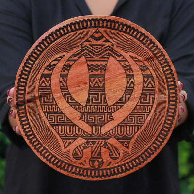 The Sikh Khanda Carved Wooden Poster