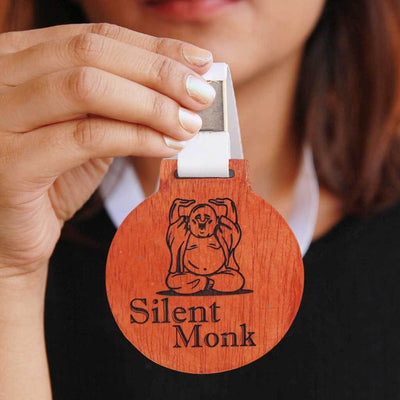 Silent Monk Wooden Medal - This Custom Medal is One Of The Best Funny Gifts For Friends And Family - This Engraved Medal Award Is A Great Friendship's Day Gift Or A Birthday Present For A Friend. This Will Also Make Great Office Gifts For Colleagues.