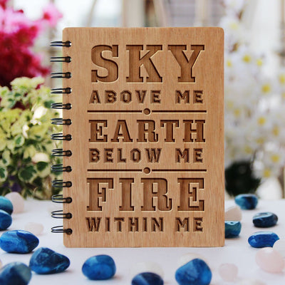 Notebook - Sky, Earth, Fire - Bamboo Wood Notebook