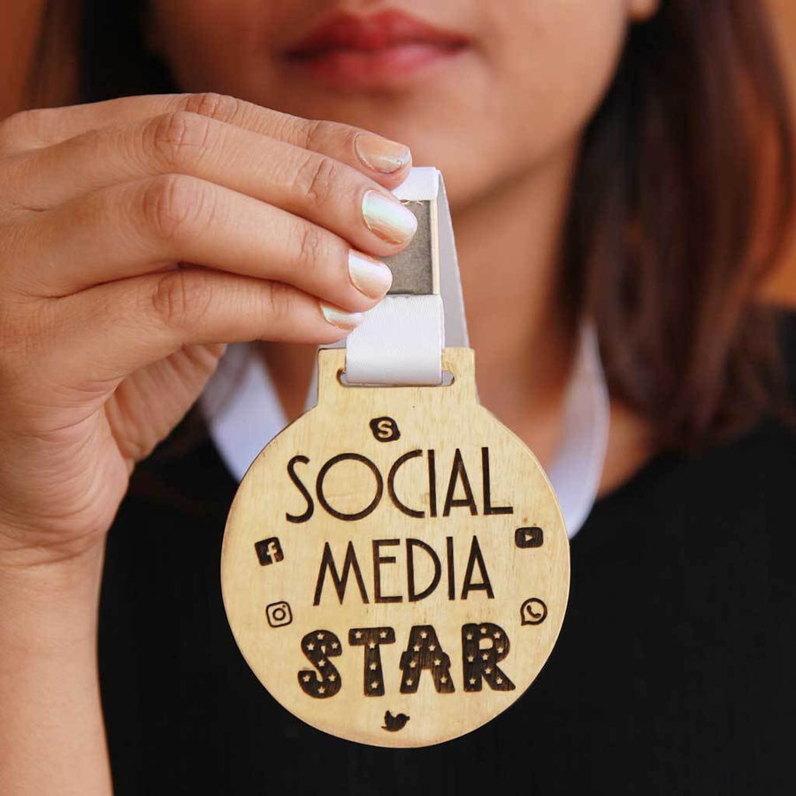 Social Media Star Medal With Ribbon - This Engraved Medal Makes A Funny Gift For Those Social Media Stars Of Your Life - Buy Medals Which Are Of Premium Quality From The Woodgeek Store