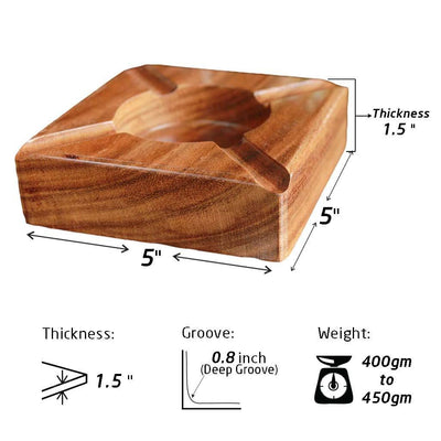 Specifications For Solid Walnut Wooden Ashtray - Woodgeek Store.