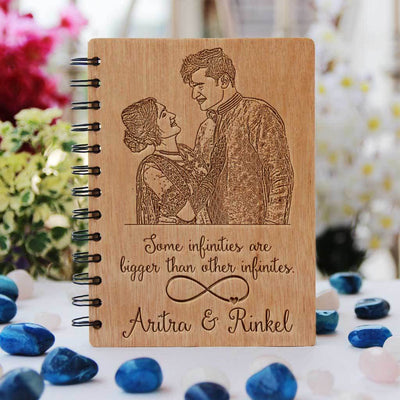 Some Infinities Are Bigger Than Other Infinities Wooden Photo Diary - This Personalized Notebook With Photo Makes One Of The Best Romantic Gifts For Lovers And A Perfect Gift For Friends Or Family Members Who Like Journaling - Get More Engraved Wooden Gifts Online From The Woodgeek Store.