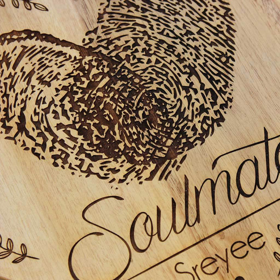 Soulmates Personalized Photo Frame - Photo on Wood - Wooden Plaque With Photo Engraving on Birch Wood and Mahogany Wood - This Custom Wooden Frame Makes Great Wedding Gifts and Anniversary Gifts. Find Gifts for Him and Gifts For her on Woodgeek Store