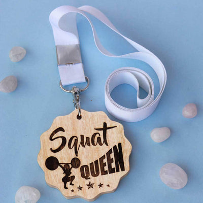 Squat Queen Wooden Medal - Funny Medal Awards For Gym Lovers. Best Gifts For Fitness Lovers.