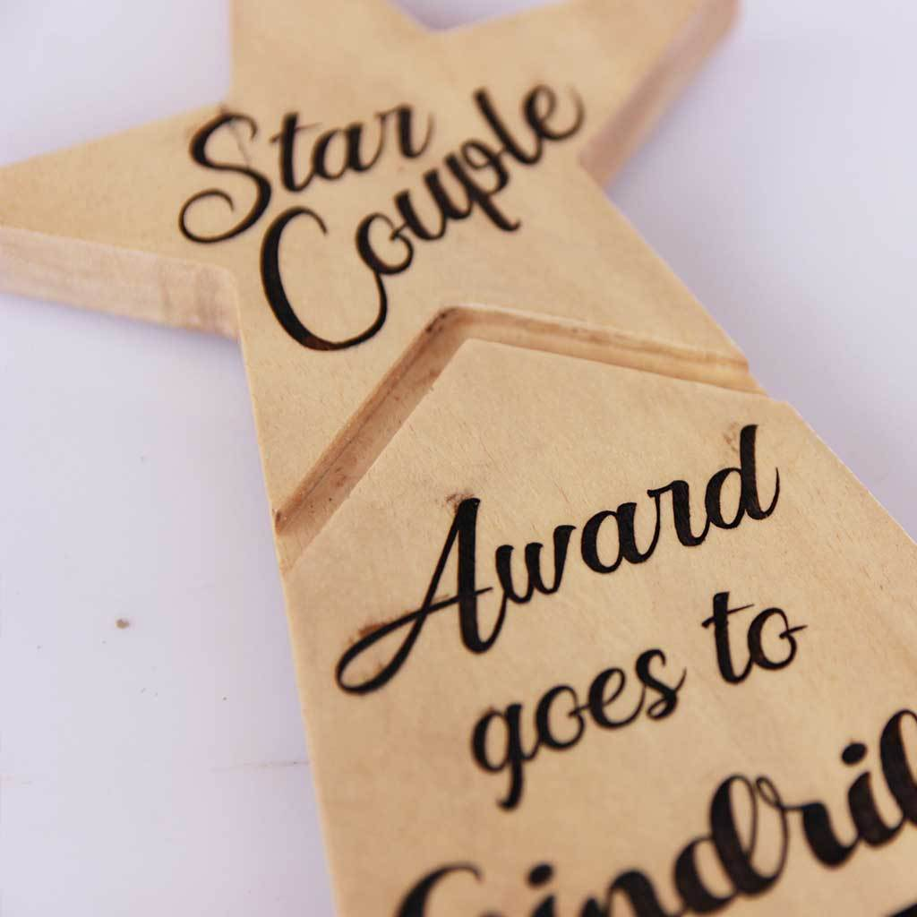 Star Couple Award for the world's best couple ever. This Custom Wooden Trophy makes best gifts for couples. This Star Trophy is also one of the most unique romantic gifts for couples.