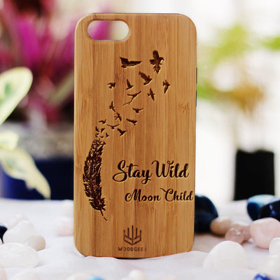 Stay Wild Moon Child Inspirational Phone Cases for Women - iPhone Case by Woodgeek Store