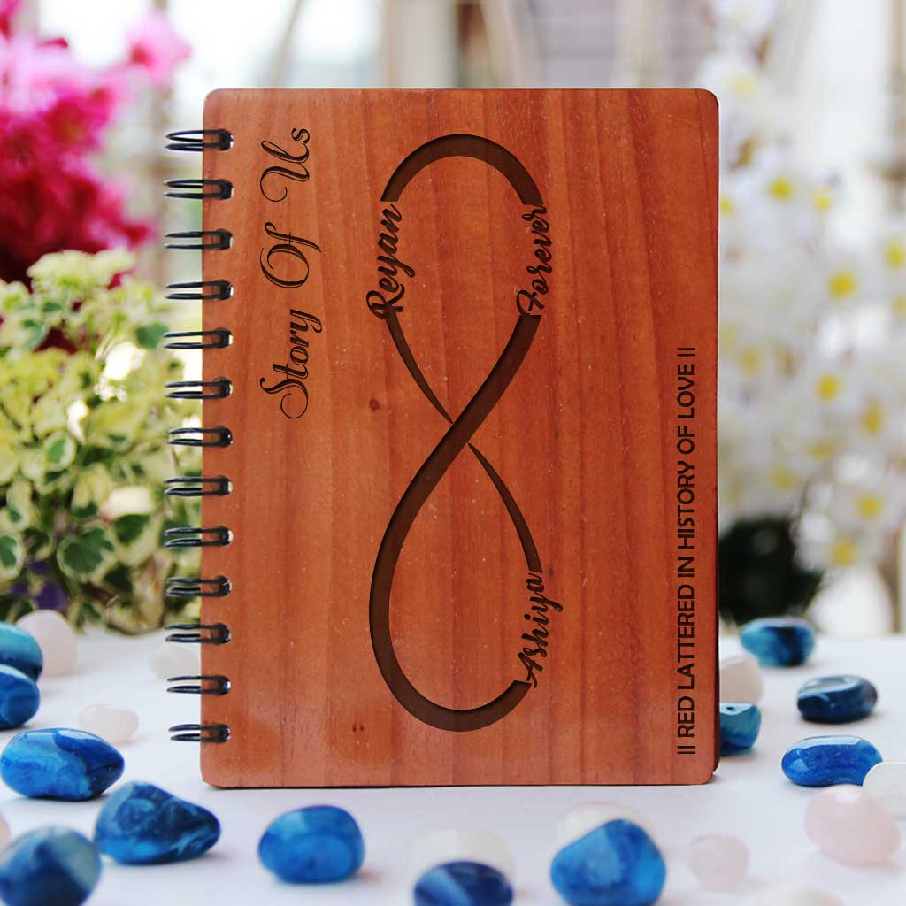 The Story Of Us Wooden Love Notebook. This Notebook Journal Is One Of The Best Romantic Gifts For Husband Or Gifts For Wife. This notebook journal will make great engagement gifts for the bride or groom. This wooden journal will also make great wedding gifts or anniversary gifts.