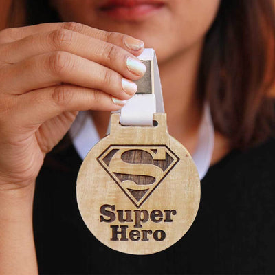 Super Hero Wooden Medal