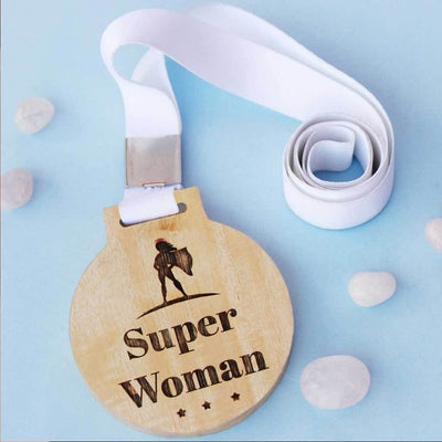 Superwoman Wooden Medal With Ribbon - A great Women's Day gift for her