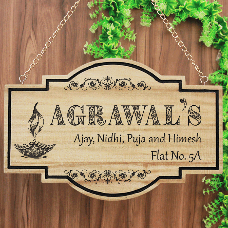 Auspicious Name Boards For House. Name board for home. Swastik Name Plate. Diya Name Plate. Custom Name Plates Make great Diwali gifts, home decor gifts or housewarming gifts.