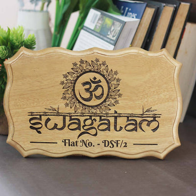 Swagatam - Auspicious Signs for house entrance - Welcome door signs -  wooden welcome signs - Woodgeek Store
