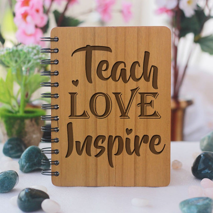 Wooden Notebook - Teach Love Inspire - Bamboo Wood Journal - Teacher Appreciation Gifts - Teacher's Day Gifts - Woodgeek Store