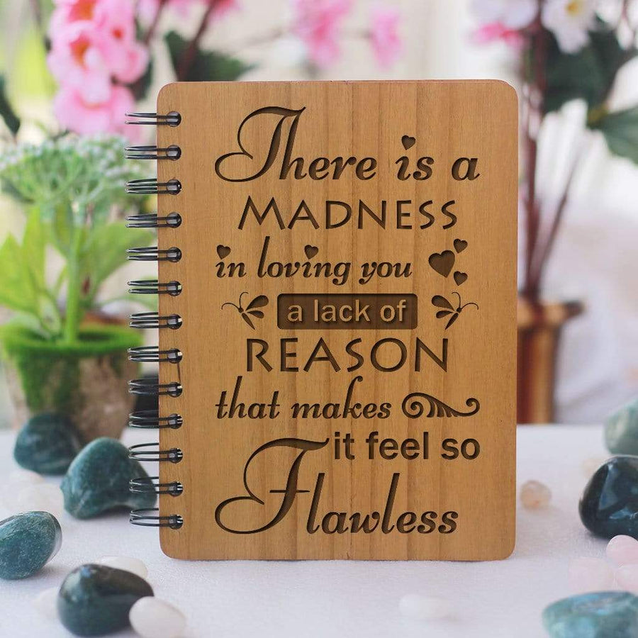 There is a madness in loving you - Gifts for Boyfriend - Gifts for Girlfriend - Love Journal - Wooden Notebook - Personalized Notebook - Woodgeek Store
