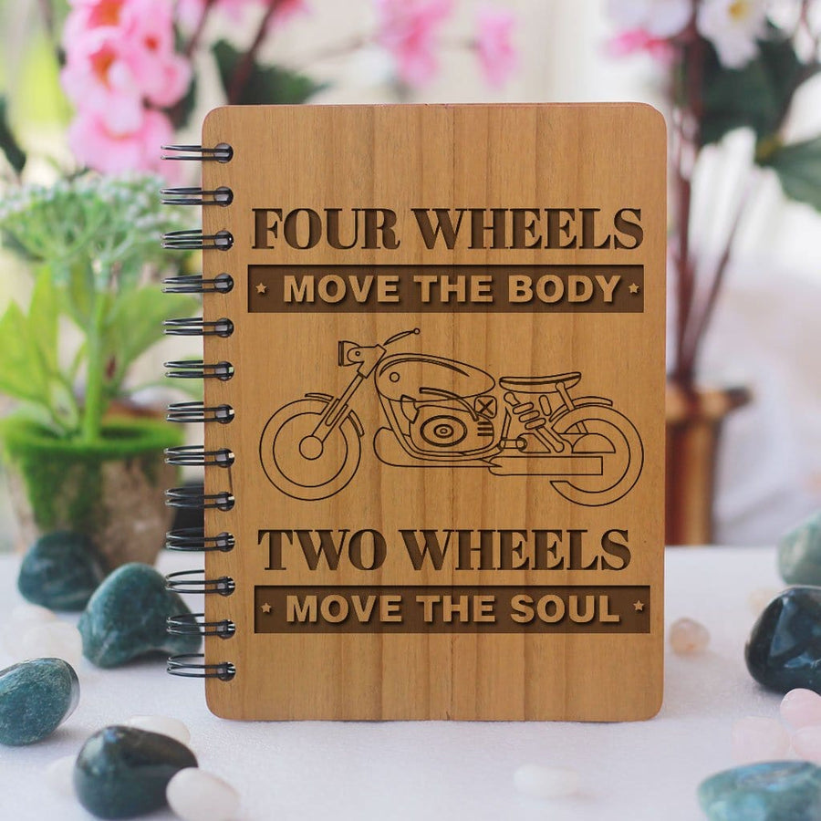 Four Wheels Move The Body, Two Wheels Move The Soul Wooden Notebook. A Personalized Notebook Journal For Bike Lovers. This Wooden Journal Is The Best Gift For Boyfriend and Husband