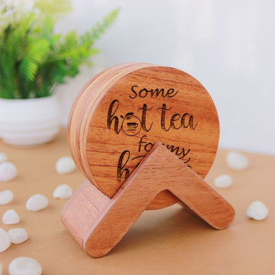 Tea Coaster. Tea Coaster Set. This Wooden Tea Coaster Set Comes with Coaster Holder & Makes Great Gifts For Tea Lovers. Buy Coasters Online At Woodgeek Store